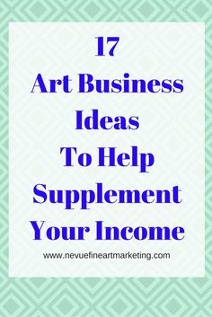 17 Art Business Ideas to Help Supplement Your Income - Do you love to create? There are many ways you can make money from selling art and crafts. In this post, you will discover 17 art business ideas to help you generate extra income. Business Help, Craft Business, Business Advice, Business Planning, Creative Business, Career Advice, Sell My Art, Selling Art Online, Art Market