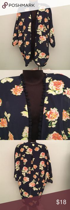 Floral Pom Pom Kimono Super cute. Very good condition. Pom Pom's have a few fuzzies on them. 98% Polyester, 2% Spandex. Sheer material... (S3D) Xhilaration Tops