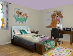Puppy Blankets | Puppy Fleece & Woven Blankets at http://www.visionbedding.com/Blankets/Puppy.php Get ideas for puppy decor from this puppy dog filled room!  How cute for a kid or baby! #Home Decor,#Puppy Blankets