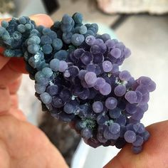"Purple and green botryoidal Chalcedony, or ""Grape Agate"" from Indonesia."
