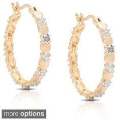 Sterling Silver Blue Diamond Oval Hoop Earrings - Overstock Shopping - Top Rated DB Designs Diamond Earrings