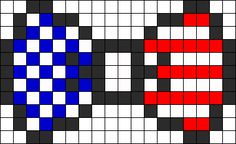 American Flag Bow Perler Bead Pattern | Bead Sprites | Simple Fuse Bead Patterns