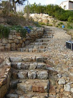 Terraced patio and terraced patio garden. Turn your backyard or patio into a beautiful garden terrace. Stone Landscaping, Hillside Landscaping, Landscaping Ideas, Stone Retaining Wall, Stone Walkway, Terraced Patio Ideas, Stone Stairs, Stone Walls, Stone Road