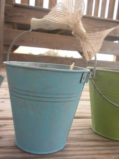 Painted and Distressed Galvanized Tin Pail by weekendinthecountry, $4.00....fill with a bunch of babys breath for a fun decoration!#Repin By:Pinterest++ for iPad#