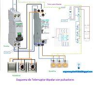 Esquemas eléctricos: Esquema de telerruptor bipolar con pulsadores