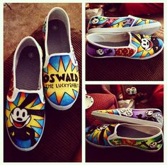 Custom Oswald the lucky rabbit shoes