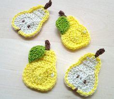 4pcs  Crochet Yellow Pear Appliques   made to by appliquefarm, $2.80