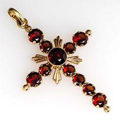 H & A Cross Pendant w/ Garnets 14K Gold Germany -