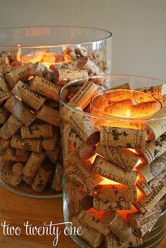 DIY διακοσμητικά κεριά με φελούς από κρασί