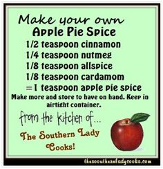 "A pinner said, ""The Southern Lady Cooks: Did you ever get ready to make a pie and check the cupboard for spices to find that you don't have the one you are looking for? Here is a handy tip on How to Make Your Own Apple Pie Spice. Homemade Spices, Homemade Seasonings, Spice Blends, Spice Mixes, Do It Yourself Food, Apple Pie Spice, Pumpkin Pie Spice, Spices And Herbs, Seasoning Mixes"