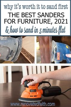 Sand furniture in less than 5 minutes with these low-cost sanders! Also explained is why it's so worth it to sand first. Here are reviews of the best sanders for wood furniture & other DIY projects. Also included is the best sander for refinishing cabinets. This palm sander is such a time saver and incredibly cheap! This post includes a wood sandpaper grit chart and explains how to sand wood with an electric sander. Glazing Furniture, Furniture Refinishing, Diy Furniture Projects, Paint Furniture, Furniture Makeover, Diy Projects, White Washed Furniture, Distressed Furniture, Farmhouse Furniture