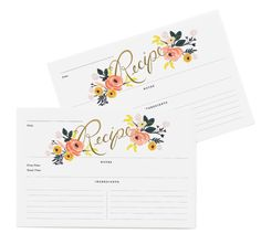 New for Summer 2015 from Rifle Paper Co. Peony Recipe cards