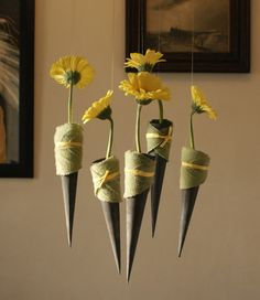 Sunny Germinis in grey steel cones wrapped in fluffy leaves and suspended from the ceiling Deco Floral, Arte Floral, Floral Design, Flower Decorations, Table Decorations, Crepe Paper Flowers, Nature Decor, Ikebana, Bouquet