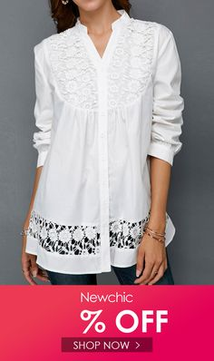 Celmia Lace Patchwork Hollow Long Sleeve Women Casual Blouse look not only special, but also they always show ladies' glamour perfectly and bring surprise. Come to NewChic to choose the best one for yourself! Blouse Back Neck Designs, Blouse Designs, Loose Shirts, Long Sleeve Shirts, Play Lottery, Tunic Tops, Glamour, Shirt Dress, Clothes For Women