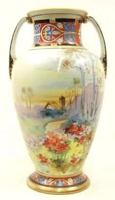 Hand painted gilt enameled Nippon vase. 5/2, 1pm
