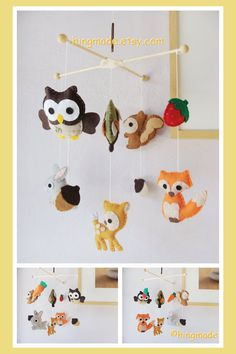 Baby Mobile - Woodland Friends Mobile - Ceiling Hanging Mobile - Bunny Deer Fox Owl Squirrel Carrot Strawberry