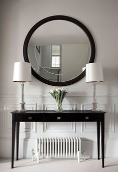 This is a beautiful place to come for modern home decor ideas. Modern console table is at the center of our attention. Hall Console Table, Hallway Console, Modern Console Tables, Hall Tables, Console Table Living Room, Dining Room, Hallway Decorating, Entryway Decor, Luxury Interior