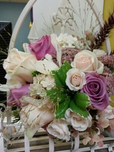 Beautiful Summer Wedding Bouquet of Blush Roses, Lavendar Roses, Autumn Joy Sedum, Cymbidium Orchids, Fountain Grass, and Miscanthus. Great for outdoor farm wedding. Farm Wedding, Wedding Ideas, Fountain Grass, Summer Wedding Bouquets, Cymbidium Orchids, Blush Roses, Here Comes The Bride, Joy, Autumn