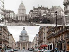 Paris, la rue Soufflot en 1877 et aujourd'hui. La perspective n'existait pas au début du XIXe siècle et la rue portant le nom de l'architecte du Panthéon s'achevait en cul-de-sac au niveau de la rue Saint-Jacques. Son allongement vers Saint-Michel commença sous le second Empire.