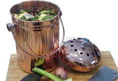 Copper Countertop Compost Bin Crock Bucket for Indoor Kitchen Use - Copper Coated Stainless Steel Pail 1 Gallon - BONUS Includes 2 Sets of DUAL Charcoal Filters - ♲ The Recycle Bin Store