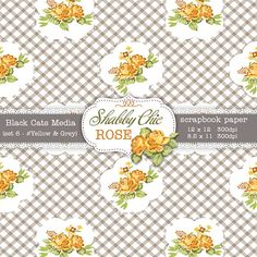 Yellow Shabby Chic Digital paper 12 x 12 in AND 8.5x11 in  -Shabby chic rose  instant download – seamless pattern