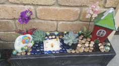 Fairy garden created using glass beads, modelling clay for the toadstools and some small cacti and fake blooms. Very easy and cheap to make.