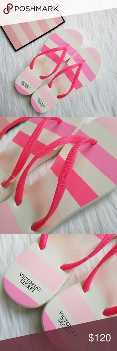 Victoria's Secret Pink Stripe Flip Flops Sandals Victorias Secret Pink Stripes Flip Flop Sandals Size 7-8 Brand new with original factory plastic connector tie  Gorgeous signature VS stripes and logos Grab these & run to the beach :)  They have 7-8 imprinted on them as the size Victoria's Secret Shoes Sandals