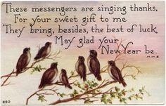 brown birds illustration, vintage new year postcard, singing birds clip art, holly berries bird illustration, vintage bird graphics