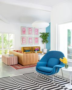 Blair Eadie of Atlantic-Pacific matched her Florida vacation home with her highly curated fashion aesthetic Design Set, House Design, Womb Chair, Florida Beaches, Florida Vacation, Blair Eadie, Atlantic Pacific, Pacific Blue, Room Dimensions