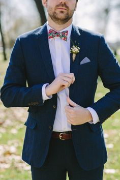 Navy jacket + floral bow tie | Adam Lowe Photography