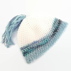 Half Price SALE 2 to 5 year Crochet hat for Girl or Boy White and Blue £3.25