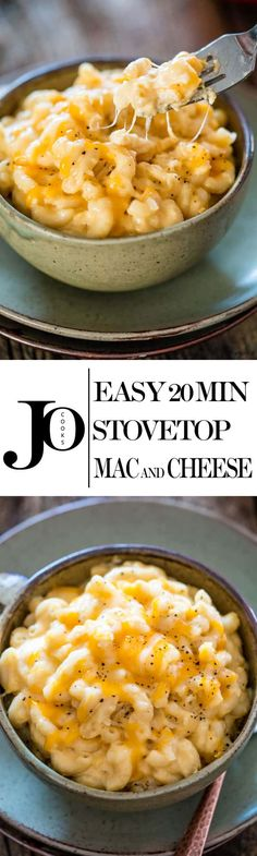 Easy silky, cheesy Stovetop Mac and Cheese that can be made from scratch and ready in 20 minutes plus it's kid friendly! Beats the kind from a box! Easy Dinner Recipes, Great Recipes, Easy Meals, Favorite Recipes, Delicious Recipes, Dinner Ideas, Lunch Ideas, Holiday Recipes, Recipe Ideas