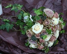 Amnesia, Hypnose and Vendela Roses with Wax flower and Berried Ivy bouquet Flower Bouquet Wedding, Rose Bouquet, Amnesia Rose, Ivy Plants, Wax Flowers, English Country Gardens, Wedding Mood Board, Wedding Designs