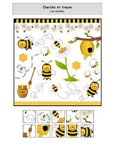 Fichier PDF Cherche trouve - Abeilles.pdf Insect Activities, Kindergarten Activities, Preschool, Insect Crafts, Bee Crafts, Montessori Pdf, Hidden Pictures, Cute Coloring Pages, Camping Gifts