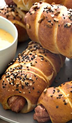 Pretzel Dogs with a Cheese Sauce - You'll have to type it into the search, recipe has been archived