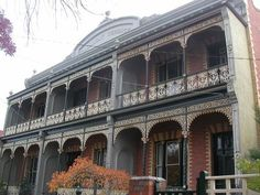 Ballarat Terrace, built in is about as close to the Melbourne boom style of terrace that you can find outside of Melbourne. Victorian Terrace House, Victorian Homes, Australian Homes, Victoria Australia, Classic House, Historic Homes, Facade, Melbourne, Brick