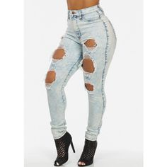 Light Acid Wash Ripped Jeans ($30) ❤ liked on Polyvore featuring jeans, pants, bottoms, destroyed jeans, ripped jeans, destruction jeans, destructed jeans and torn jeans