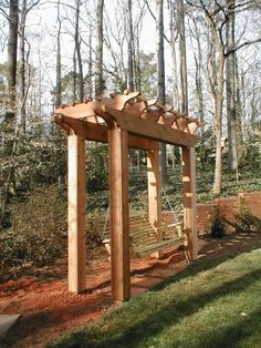 Garden Swing Design Ideas HGTV is presenting a variety of garden swings in backyards, on porches and Backyard Swings, Pergola Swing, Outdoor Pergola, Backyard Pergola, Backyard Landscaping, Pergola Kits, Modern Pergola, Pergola Ideas, Cheap Pergola