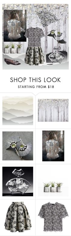 """Fanfare and Flowers"" by knotchacha ❤ liked on Polyvore featuring York Wallcoverings, Yosemite Home Décor, Chicwish, self-portrait, Tabitha Simmons, lace and shadesofgrey"