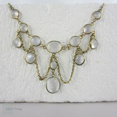 RESERVED. Edwardian Festoon Moonstone Necklace. Graduated by Addy