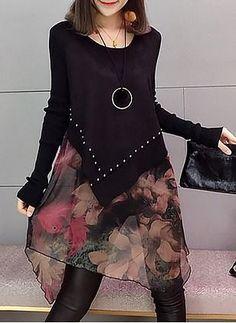 Cotton Geometric Ruffles Long Sleeve Shift Dress - Love and Joy White Lace Long Sleeve Shift Dress 2020 Affordable Dresses, Stylish Dresses, Women's Fashion Dresses, Diy Fashion, Ideias Fashion, Casual Dresses, Womens Fashion, Diy Clothes, Clothes For Women