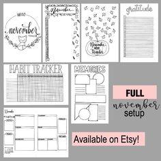Full November Bullet Journal Printable Setup