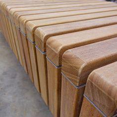 STREETLIFE Solid Skirt Bench. Close-up FSC Hardwooden slats #StreetFurniture #ModernDesign #FSCHardwood