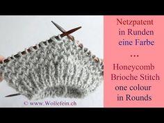 ▶ Netzpatent in Runden eine Farbe - Honeycomb Brioche Stitch in Rounds one colour - YouTube
