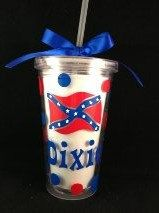 Rebel Flag Personalized Tumbler  16oz Double Wall by DotsEtc, $10.00