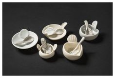 """Sel de Mer"" Australian Porcelains Diameter of widest dish 10 cm 2014 Ceramic Spoons, Wooden Spoons, Pinch Pots, Plates And Bowls, Natural Forms, Porcelain Ceramics, Utensils, Knives, Carving"