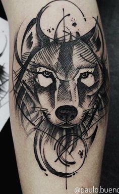 As 230 Melhores Tatuagens de lobo da internet [Femininas e Masculinas] Geometric Wolf Tattoo, Tribal Wolf Tattoo, Wolf Tattoo Sleeve, Arm Tattoo, Sleeve Tattoos, Wolf Girl Tattoos, Leg Tattoos, Body Art Tattoos, Cool Tattoos