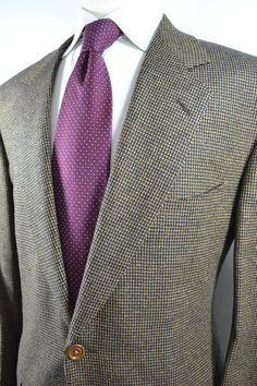 Samuelsohn Sport Coat Linen & Wool Navy Blue & Gold 44