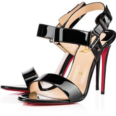 Christian Louboutin Sova Heel ($850) ❤ liked on Polyvore featuring shoes, sandals, louboutin, black, strap sandals, black sandals, black stilettos, black strap sandals and black strappy sandals
