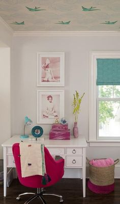 Girl's room bedroom makeover   Wallpapered ceiling!   Writing desk   Pink and turquoise accents   Wallpaper: Daydream (Green) designed by Julia Rothman for Hygge & West